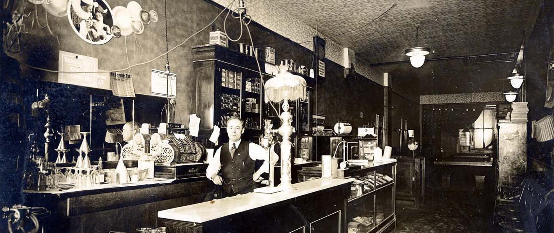 Period shop scene and shopkeeper