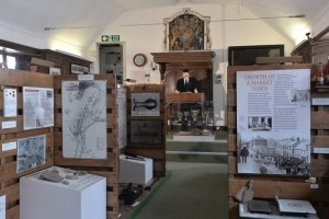 Displays about the history of Kingsbridge in the Cookworthy Room