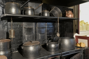 Cooking pots on the range in the Victorian Kitchen