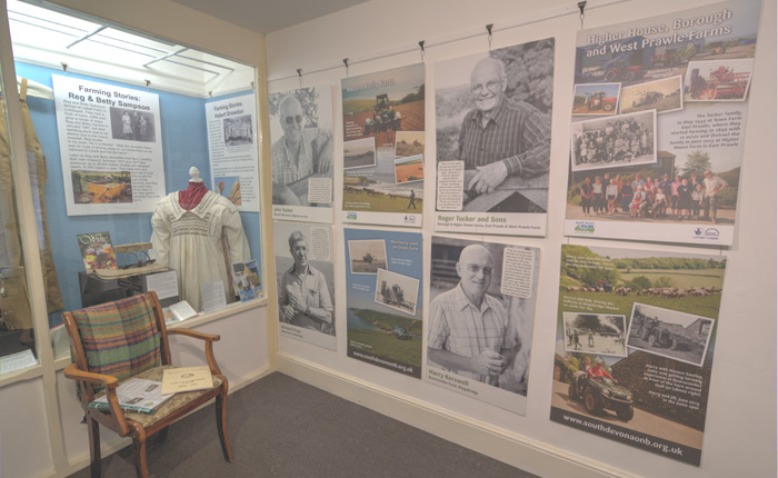 A corner of the farming display featuring stories of local farmers